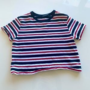 Brandy Melville Red, White & Blue Striped Crop Top